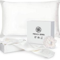 Pure Charmeuse Silk Pillowcase Gift Set w/Silk Scrunchie (2 Pack, Standard Size) - French Bulldog... | Amazon (US)