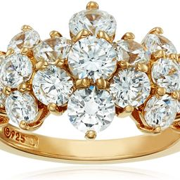 Amazon Collection Yellow-Gold-Plated Sterling Silver Swarovski Zirconia Cluster Ring | Amazon (US)