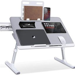 Laptop Bed Tray Desk, SAIJI Adjustable Laptop Stand for Bed, Foldable Laptop Table with Storage D... | Amazon (US)