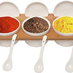 (3 Pcs) 3.5-Inch Ceramic Condiment Dip Sauce Ramekins Set w/Lids & Spoons on Bamboo Sampler Servi... | Amazon (US)