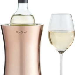 VonShef Copper Wine Bottle Cooler Chiller, Stainless Steel, Double Walled Insulated, Stemless Hol... | Amazon (US)