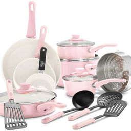 GreenLife Soft Grip Healthy Ceramic Nonstick, Cookware Pots and Pans Set, 16 Piece, Pink | Amazon (US)