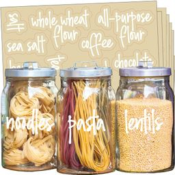 Talented Kitchen 157 White Script Pantry Labels – White Pantry Label Sticker Ingredients. Water... | Amazon (US)