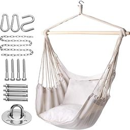 Y- STOP Hammock Chair Hanging Rope Swing-Max 320 Lbs-2 Seat Cushions Included-Hanging Chair with ... | Amazon (US)