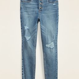 High-Waisted Button-Fly Distressed Rockstar Super Skinny Ankle Jeans for Women | Old Navy (US)