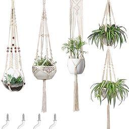 Mkono Macrame Plant Hangers Set of 4 Indoor Wall Hanging Planter Basket Decorative Flower Pot Hol...   Amazon (US)