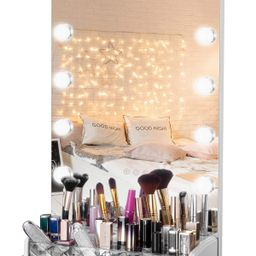 LUXFURNI Vanity Table Makeup Hollywood Mirror Dimmable Light Touch Control 12 Cold/Warm LED Light... | Amazon (US)