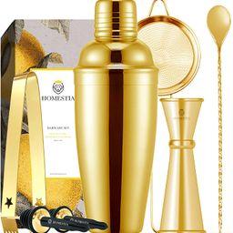 Homestia 3 Piece Cocktail Shaker Bar Set Stainless Steel Bartender Kit includes 24oz Built-in Str...   Amazon (US)