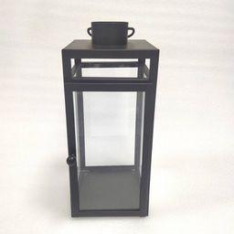 """16"""" x 7"""" Decorative Metal Lantern Candle Holder Matte Black - Threshold™   Target"""