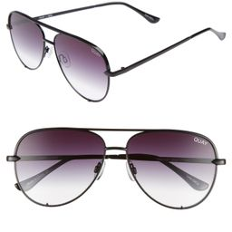 Women's Quay Australia High Key Mini 57mm Aviator Sunglasses - Black/ Fade To Clear | Nordstrom