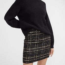 High Waisted Metallic Textured Tweed Mini Skirt | Express