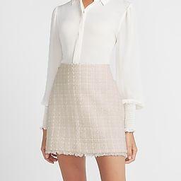High Waisted Tweed A-Line Mini Skirt | Express