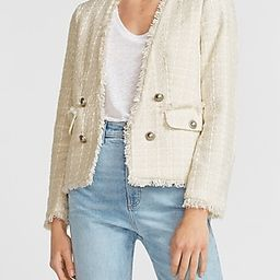 Double Breasted Collarless Tweed Long Sleeve Blazer | Express