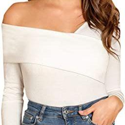 Romwe Women's Casual Cross Off Shoulder Deep V Neck Ribbed Knit Slim Wrap Tee Shirt Blouse | Amazon (US)
