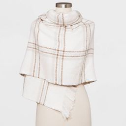 Women's Plaid Blanket Scarf - A New Day™ Cream / Tan | Target