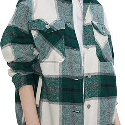 Uaneo Womens Casual Plaid Wool Blend Button Down Long Sleeve Shirt Jacket Shackets   Amazon (US)