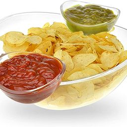 Chips and Dips Bowl 3pc Set - Generously sized bowl and 2 detachable cups for dips - Great for Sa... | Amazon (US)