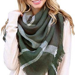 Women's Shawl Wrap Warm Scarf - Cozy Oblong/Plaid Blanket/Stripe Light Circle Infinity | Amazon (US)