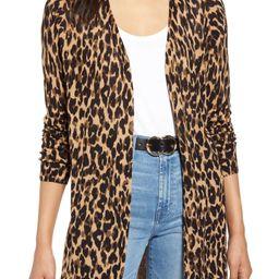 Leopard Print Linen Blend Cardigan | Nordstrom
