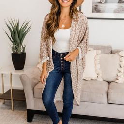 Chill Kind Of Crush Taupe Animal Print Kimono | The Pink Lily Boutique