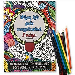 'When Life Gets Complicated, I Wine' - Funny Adult Coloring Book - Perfect White Elephant Gift Id... | Amazon (US)