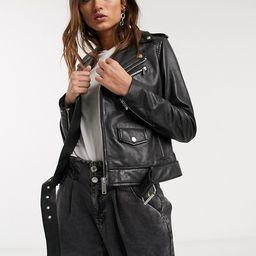 Barney's Originals boxy buckle belt leather jacket in black   ASOS (Global)