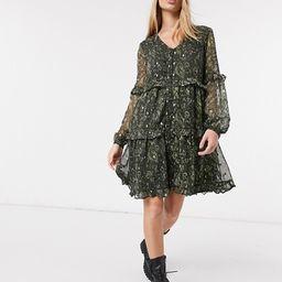 Y.A.S chiffon mini smock dress in green paisley   ASOS (Global)