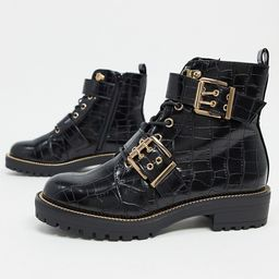 ASOS DESIGN Aubrey hiker lace up boots in black croc   ASOS (Global)