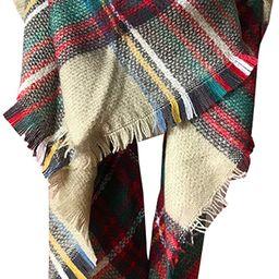Wander Agio Womens Warm Long Shawl Wraps Large Scarves Knit Cashmere Feel Plaid Triangle Scarf | Amazon (US)