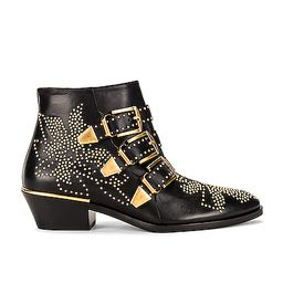 Chloe Susanna Leather Studded Booties in Black & Gold - Black. Size 41 (also in 36,38.5,39.5,40).   FWRD