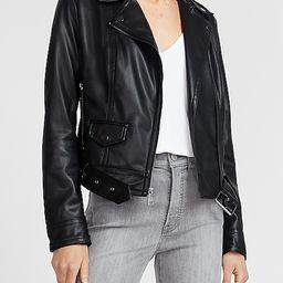 Vegan Leather Belted Moto Jacket | Express