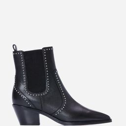 Willa Bootie - Black Leather Studded   Paige