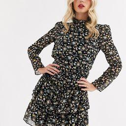 ASOS DESIGN high neck shirred waist mini dress in ditsy floral print   ASOS (Global)