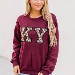 Leopard Print State Letters Applique Maroon Sweatshirt   The Pink Lily Boutique