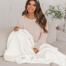Maybe I'll Stay Fuzzy Cream Blanket   The Pink Lily Boutique