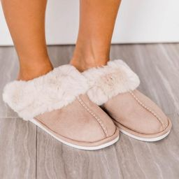 I'm Walking On Air Taupe Slippers   The Pink Lily Boutique