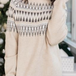 No Stopping Us Fair Isle Beige Sweater   The Pink Lily Boutique