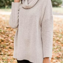 Give And Take Turtleneck Taupe Sweater   The Pink Lily Boutique