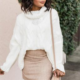 Interesting Intentions Ivory Turtleneck Sweater   The Pink Lily Boutique