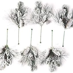 CraftMore Frosted Holiday Pine Pick Set of 6 | Amazon (US)