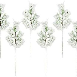AuldHome Flocked Evergreen Greenery Picks (6-Pack); Snow Frosted Christmas Decor Floral Stems for... | Amazon (US)