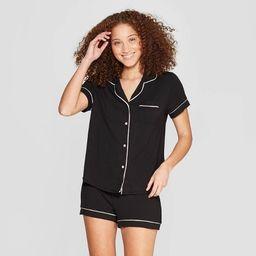 Women's Beautifully Soft Short Sleeve Notch Collar Top and Shorts Pajama Set - Stars Above™ | Target