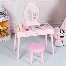 Gymax Kids Vanity Makeup Table & Chair Set Make Up Stool Play Set for Children Pink   Walmart (US)