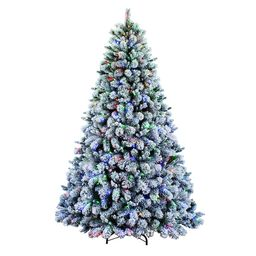 Holiday Living 7.5-ft Albany Pine Pre-Lit Traditional Flocked Artificial Christmas Tree with 600 ...   Lowe's