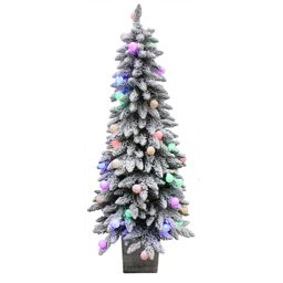 Holiday Living 5-ft Spruce Pre-Lit Traditional Slim Flocked Artificial Christmas Tree with 50 Con...   Lowe's