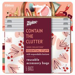Ziploc Brand Boho Collection Essential Stuff Accessory Bags, 5 Bags | Walmart (US)