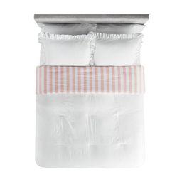 Better Homes & Gardens Kids White and Pink Stripe Reversible Ruffle Border Duvet Cover Set   Walmart (US)