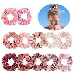 12PCS Girl Women Pink Hair Scrunchies Velvet Ponytail Holders Elastic Hair Band for Kids Teens | Walmart (US)