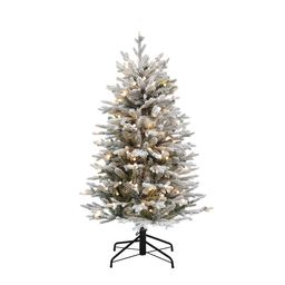 Holiday Living 4.5-ft Essex Fir Pre-Lit Traditional Slim Flocked Artificial Christmas Tree with 1...   Lowe's