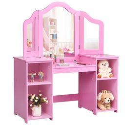 Costway Vanity Table Set Makeup Dressing Kids Girls Study Table Tri Folding Mirror  WhitePink | Walmart (US)